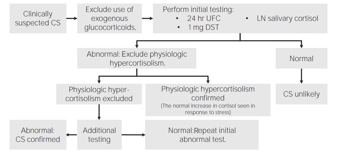 Algorithm to confirm diagnosis of Cushing syndrome