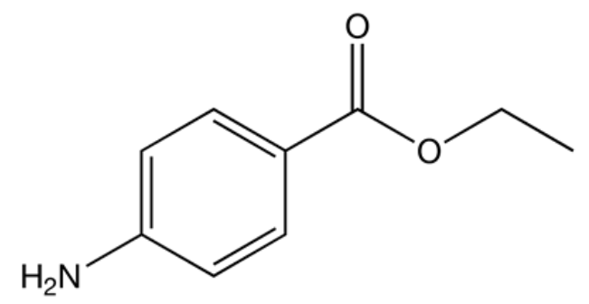 Chemical structure of benzocaine