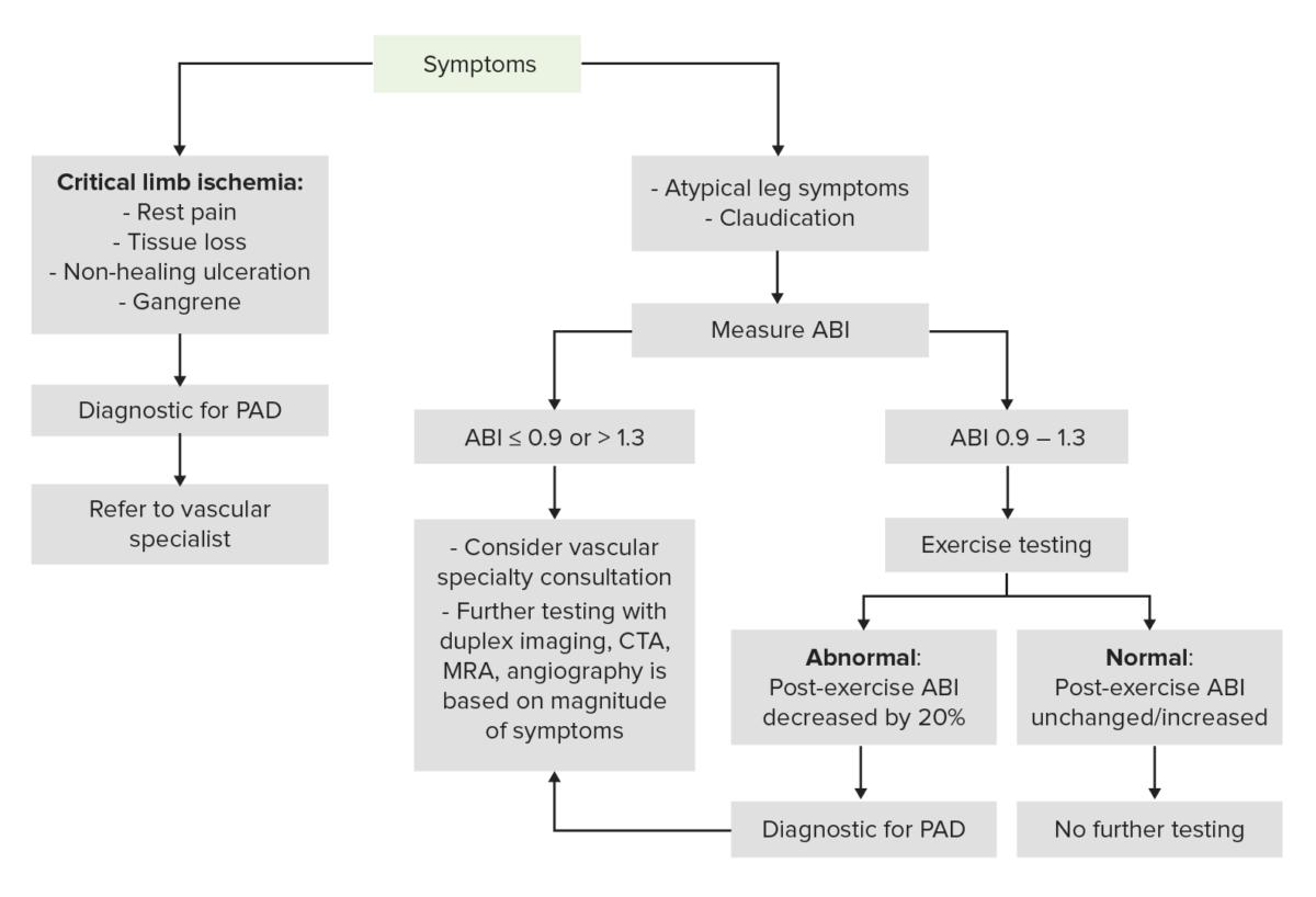 Diagnostic algorithm for PAD