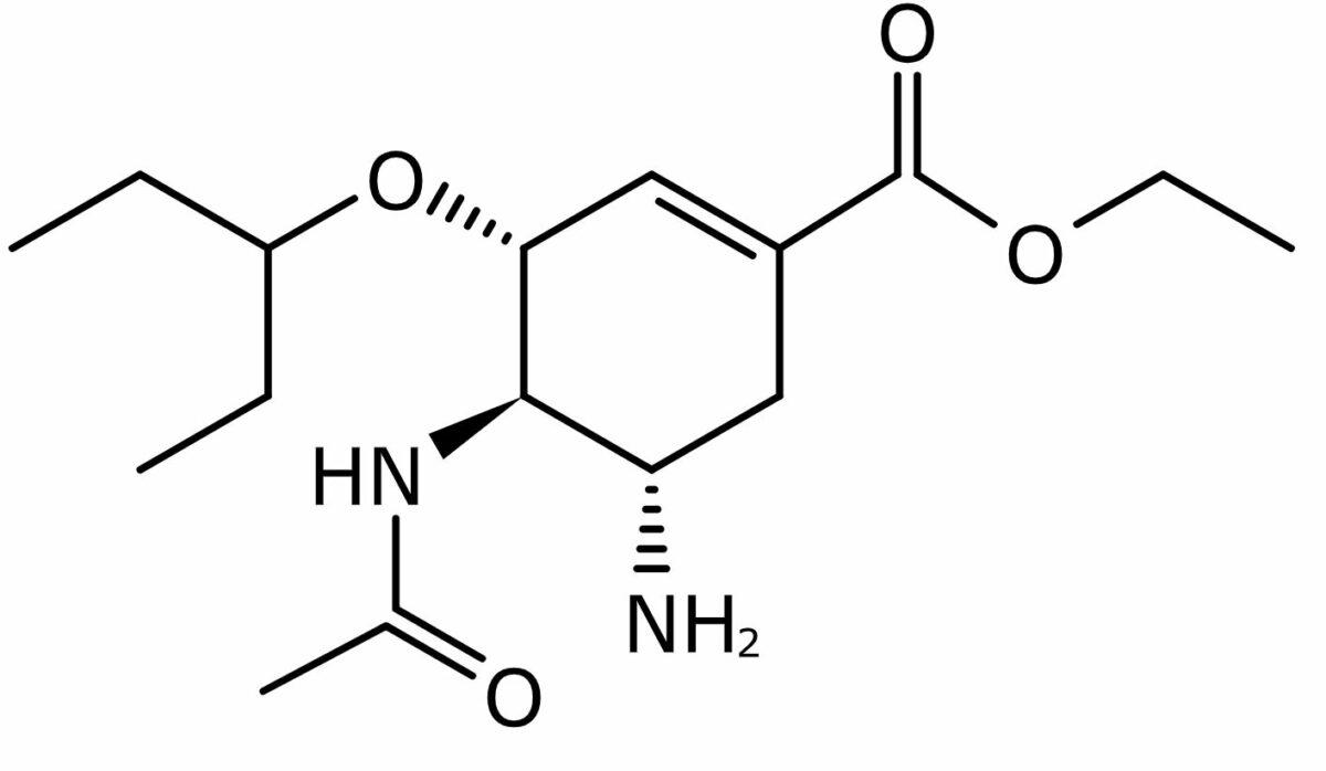 Oseltamivir, a neuraminidase inhibitor