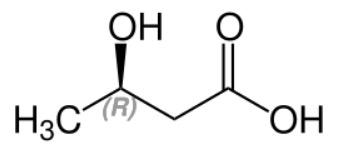 (R)-3-Hydroxy butyric acid Structural Formula