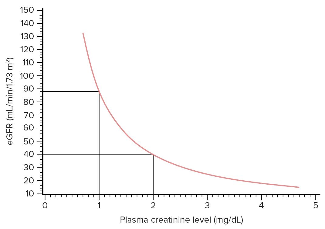 Relationship between creatinine and GFR