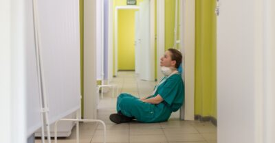 Stressed, sad nurse in Moscow hospital