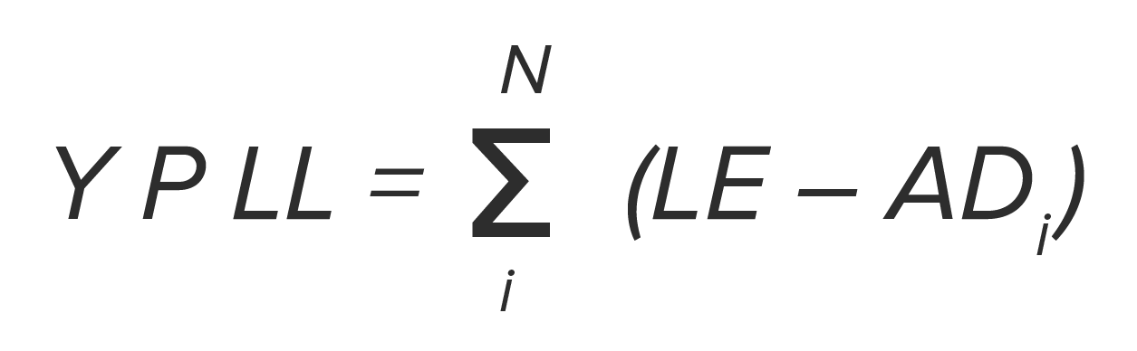 Years of Potential Life Lost formula